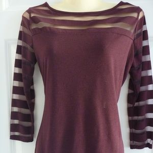 INC Top Burnout Stripes Burgundy Tee 3/4 Sleeve